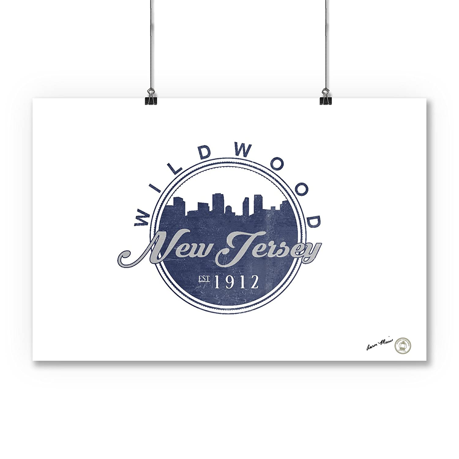 24x36 Giclee Gallery Print, Wall Decor Travel Poster Blue Wildwood Skyline Seal New Jersey