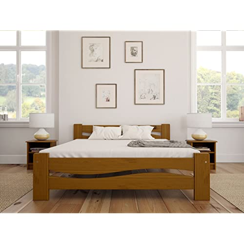 solid pine wooden bed frame king size 5ft in oak colour sturdy thick slats - King Size Wood Bed Frame