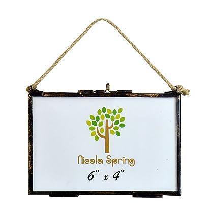 Amazon.com: Nicola Spring Hanging Glass Vintage Photo Frame With ...