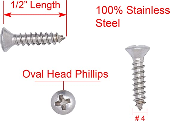 225 pcs Wood Screws Round Slot Drive 18-8 #6 X 1//2 AISI 304 Stainless Steel