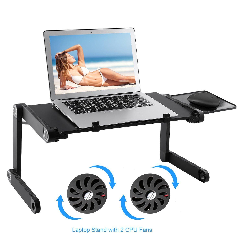 Lapdesk Laptop Computer Stands Table desk Ergonomic Computer Notebook Desk |Light Weight Ergonomic TV Bed Lap Tray Stand Up/Sitting-Black Brookfendi
