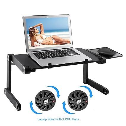 Soporte para ordenador portátil – HOBFU portátil plegable escritorio de mesa con 2 ventilador de refrigeración