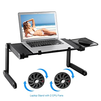 Lapdesk Soporte para Computadoras Portátiles Mesa Escritorio Ergonómica Portátil con Ventilador y Alfombrilla para Mouse/Ratón Montaje Lateral (Cool Fan): ...