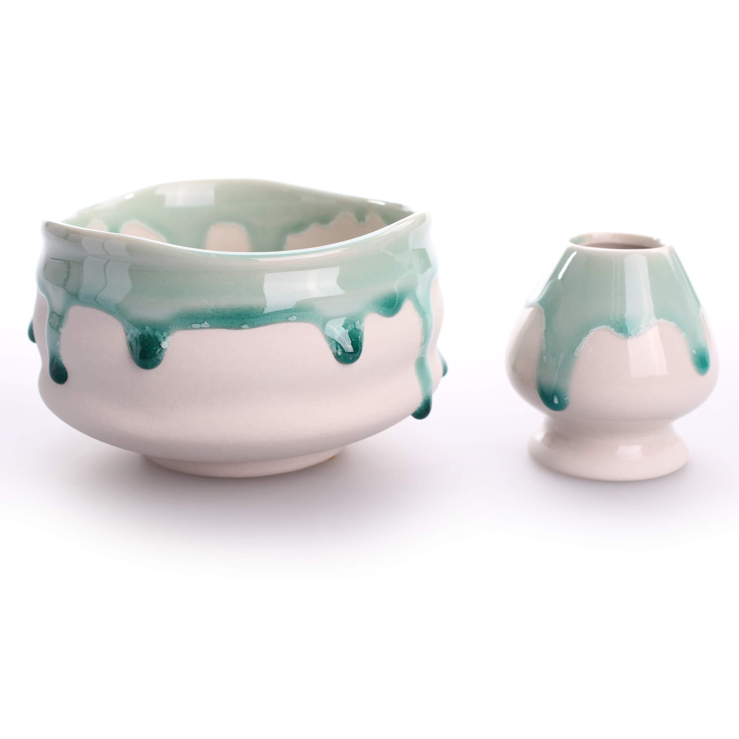 Goodwei Japanese Matcha Ceremonial Tea Bowl 15oz, 4.7 in. (incl. Whisk Holder, Suiteki)