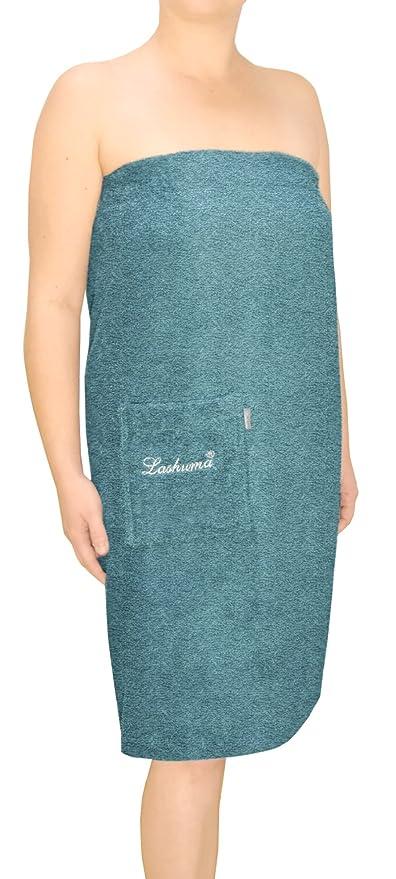 Lashuma Sauna Kilt Azul para mujeres y hombres – Toalla de sauna con bordado, tamaño