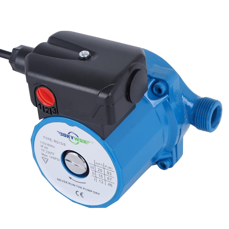 BOKYWOX 110V 93W NPT3/4'' Circulator Pump 3-Speed Control Domestic Silent Hot Water Booster Circulation Pump(RS15/6B)