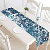 InterestPrint Sea Ocean Wave Table Runner Home Decor 14 X 72 Inch, Nautical Table Cloth Runner for Wedding Party Banquet Decoration