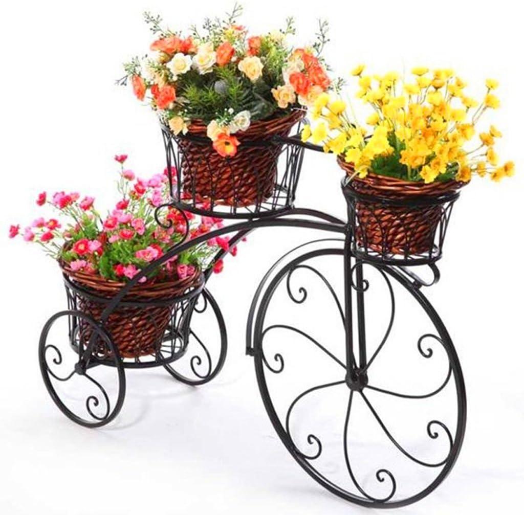 Soporte de flores Bicicletas racks de hierro forjado, multi-capa de interior y al aire libre estante de la bicicleta bastidores de flores, balcón dormitorio sala de estar eneldo macetas de flores verd