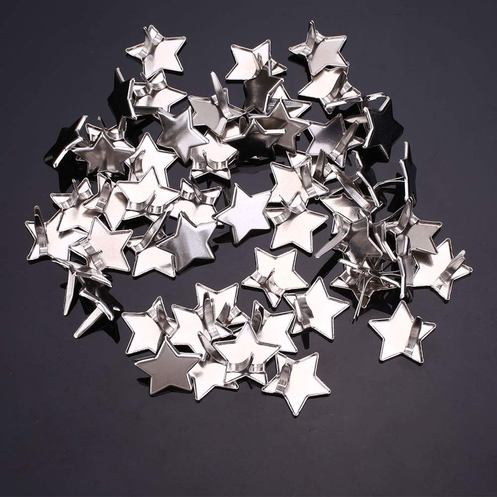 Zereff DIY 50Pcs Silver Color Five Pointed Star Brads Embellishment Decoration