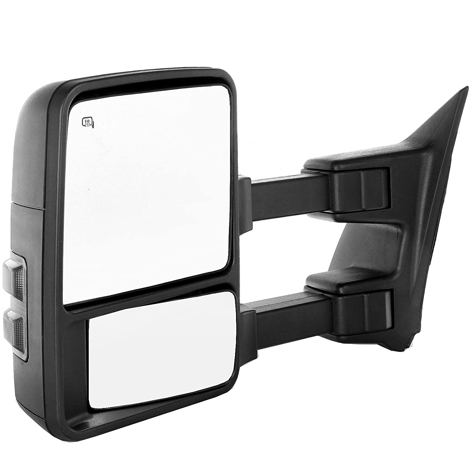 Towing Mirror by ECCPP Pair Side Mirror Replacement for 1999-2002 Ford F250 F350 F450 F550 Super Duty with Power Heated Telescopic Manual-Folding Texture Black