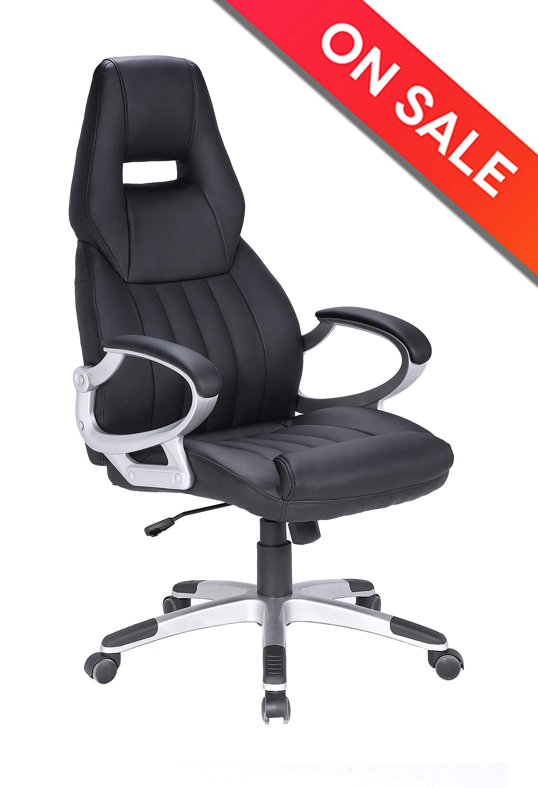 LCH Leather High Back Office Chair - Racing Style Computer Desk Chair with Adjustable Tilt Angle, Thick Padding for Comfort and Ergonomic Design for Lumbar Support by LCH