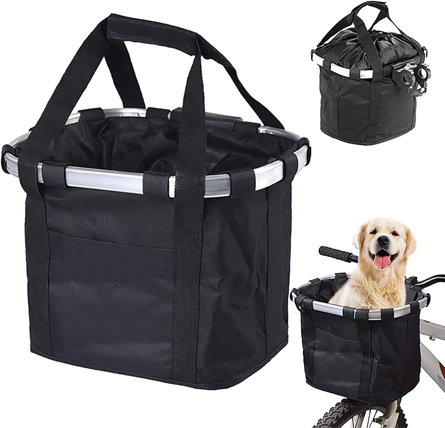 Bicycle Front Carrying Basket Hanging Removable Dog Transport Carrier Outdoor A
