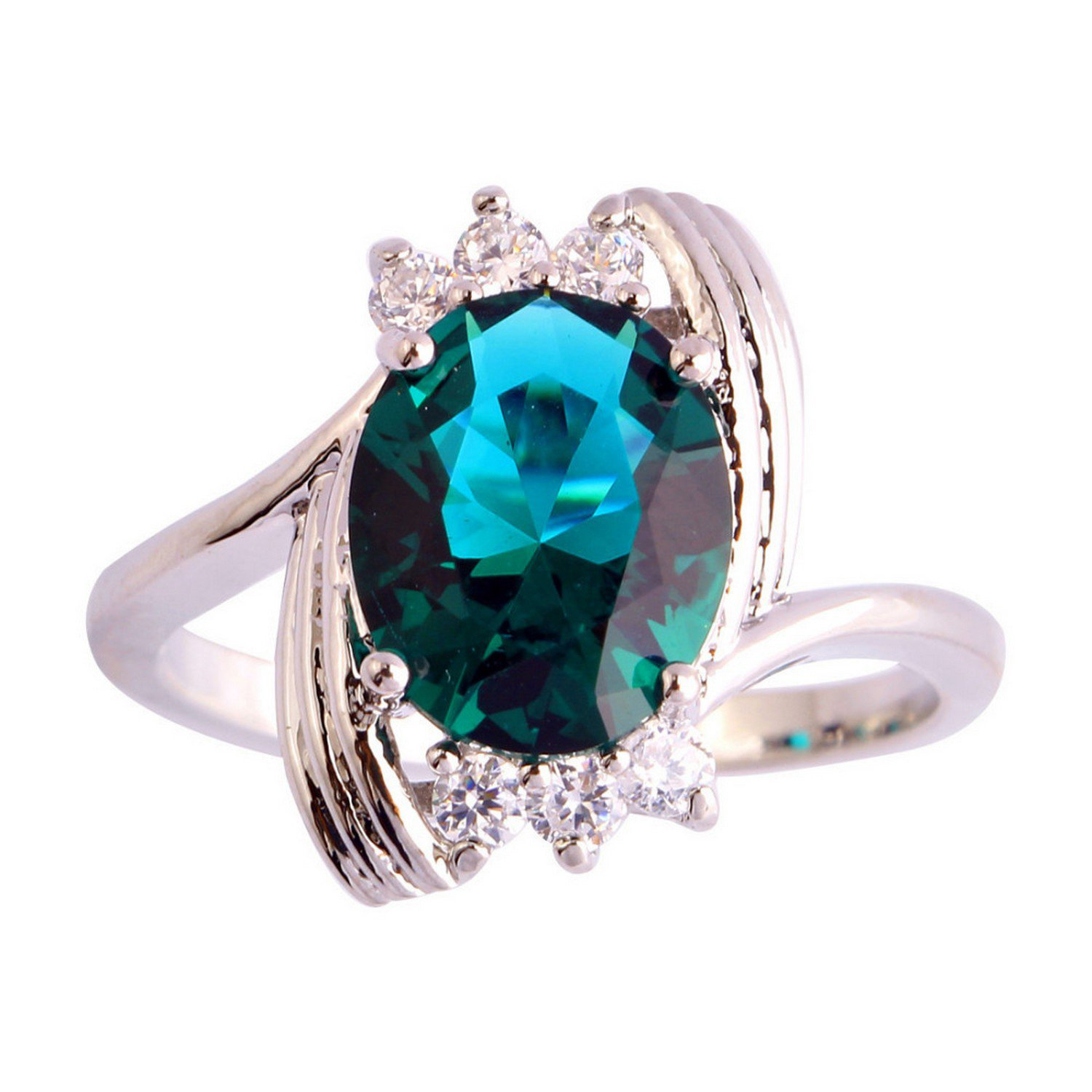 Gemmart Saucy Green White CZ Silver Color Ring Size 6 7 8 9 womens engagement rings