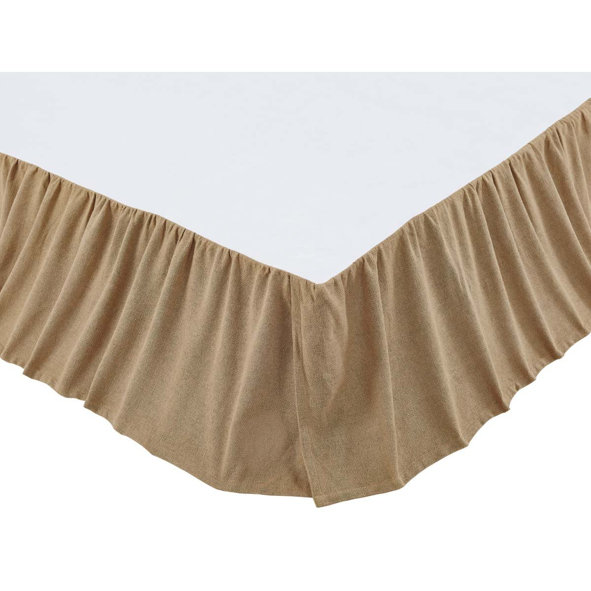 VHC Brands Classic Country Farmhouse Bedding - Burlap Natural Tan Ruffled Bed Skirt, Queen