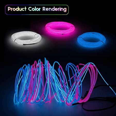 Esco Lite El Wire Neon Lights 9ft Neon Signs Portable 3m For Halloween Christmas Party Decoration Home Blue White Pink