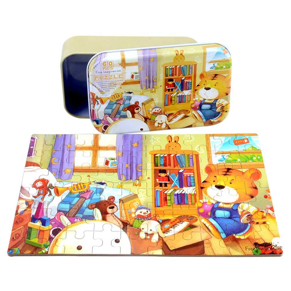 CCLFIE Forest Animals Jigsaw Puzzle 60 Piece and 60 Piece Bear Jigsaw Puzzle Bundle with Storage Box Wooden Education Toys for Kids