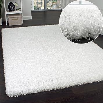 tapis shaggy haut poils longs poils agrable au touch en blancneige dimension - Tapis Blanc