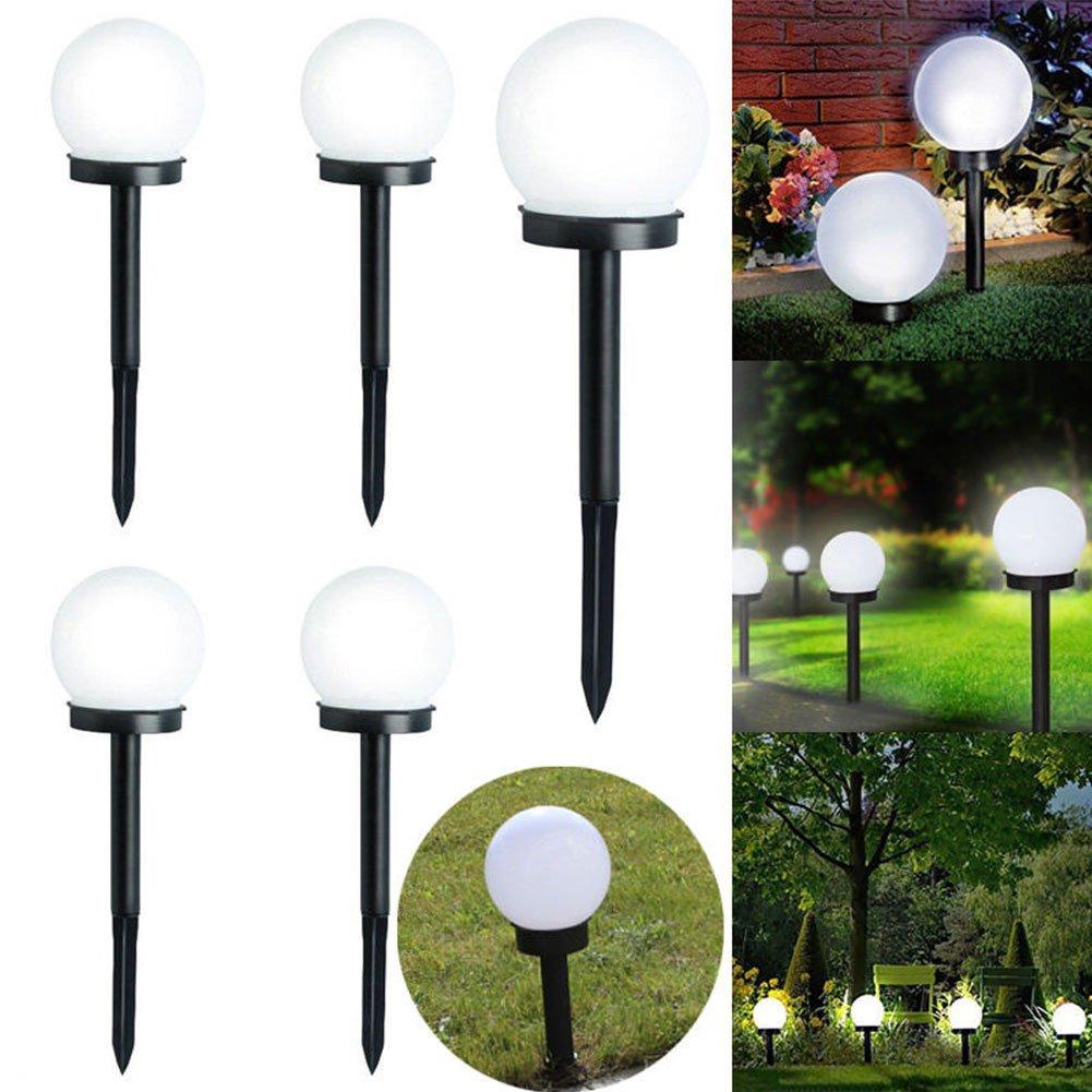 White Light DAVEVY LED Solar Lamp Ball Shape Garden Light Globe Stake Plastic Material Multifunctional Column Lampost Lawn Garden Yard Landscape Lighting