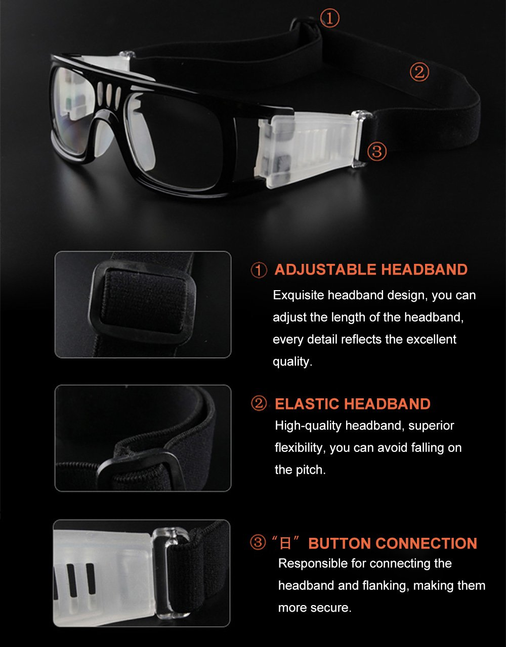 8f2936a4c8b Sports Goggles Anti-Fog Protective Safety Goggles Basketball Glasses for  Men with Adjustable Strap for Basketball Football Volleyball Hockey Rugby …