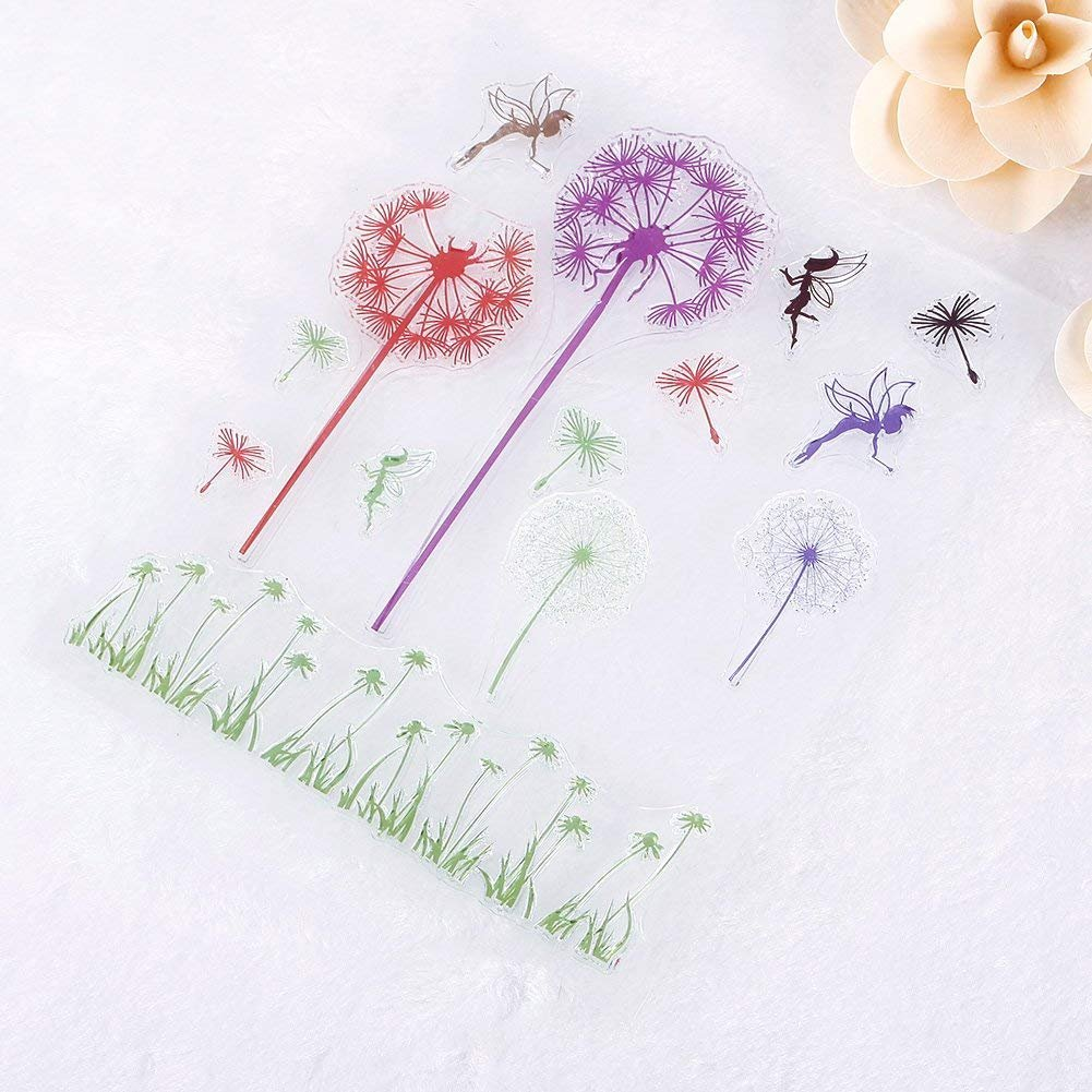 Natural Dandelion Pattern DIY Large Transparent Rubber Stamp Seal DIY Craft Scrapbooking Decor