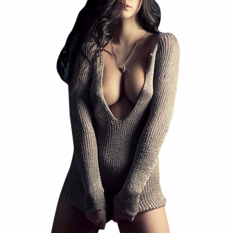 QIYUN.Z Women Deep V Neck Sexy Knit Pullover Sweater