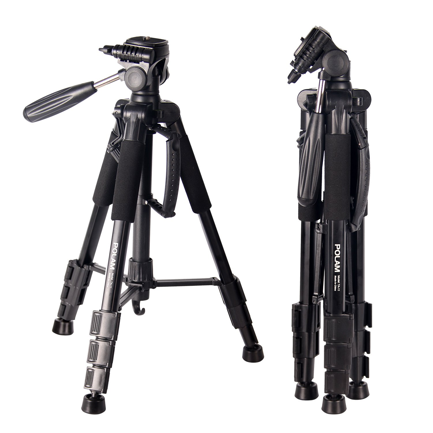 POLAM-FOTO 55'' Travel Camera Tripod,Compact Tripod with Bubble Level,Lightweight Aluminum Tripod with Carry Bag for DSLR/SLR fits with Canon/Nikon/Sony/etc