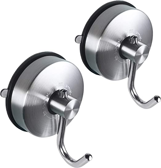 2Pcs Stainless Steel Vacuum Suction Cup Shower Towel Bathroom Wall Hook Hanger