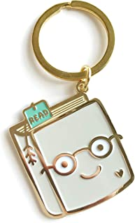product image for Night Owl Paper Goods Book Lover Enamel Keychain, Gold