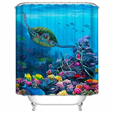 GladsBuy Rich Sea World Decor Collection Waterproof Bathroom Shower Curtain with Hooks Eco-friendly Anti-bacteria Polyester SC050