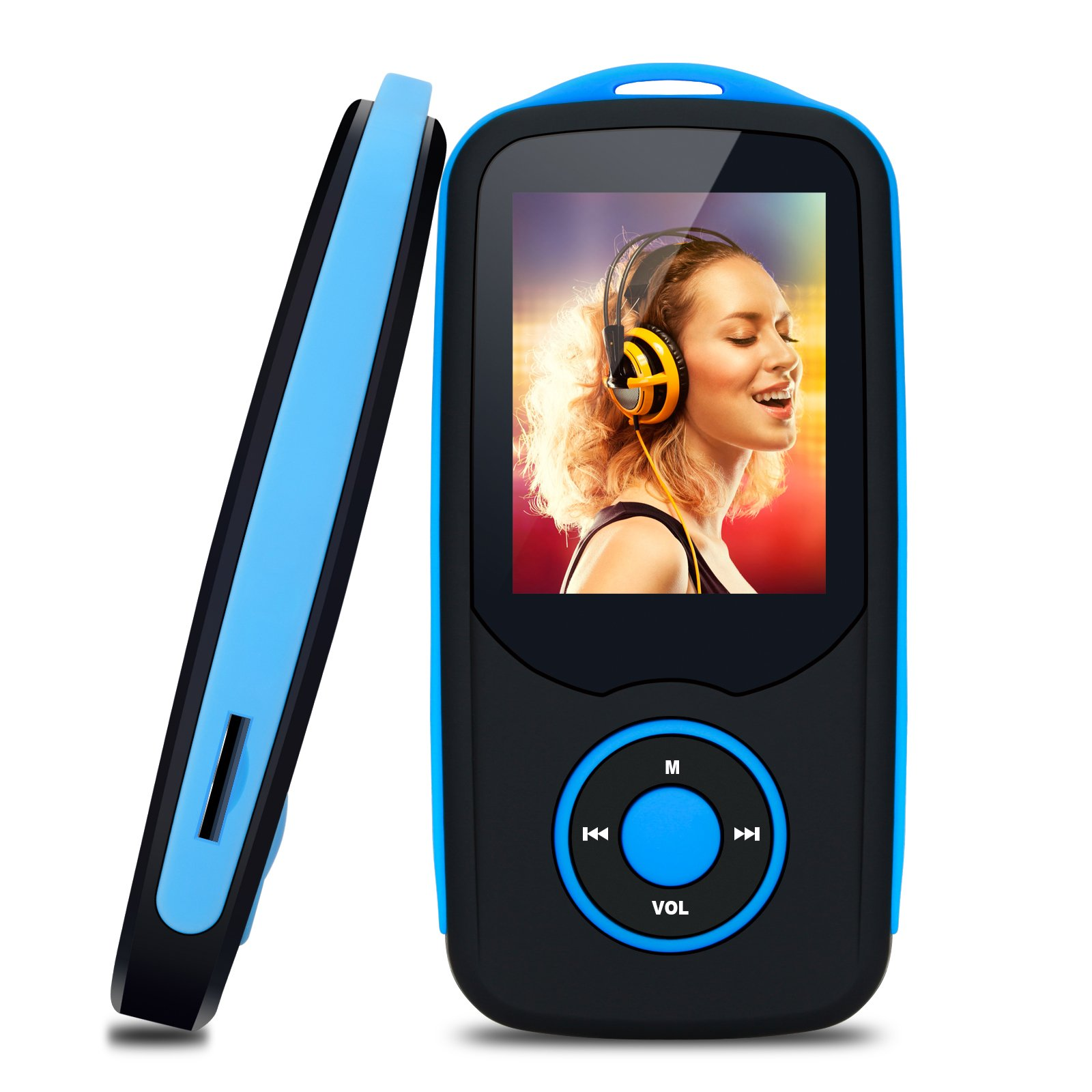 MP3 Player with Bluetooth 16GB Portable Sport Music Player Support up to 64GB by TIMMY (Blue)