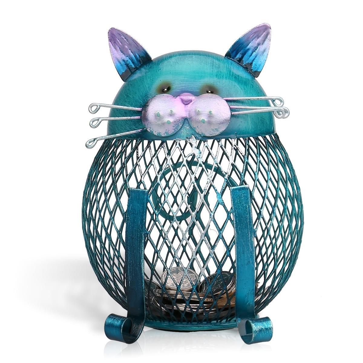 Tooarts Cat Coin Box Piggy Bank Animal Ornament Iron Art Handcrafts A030