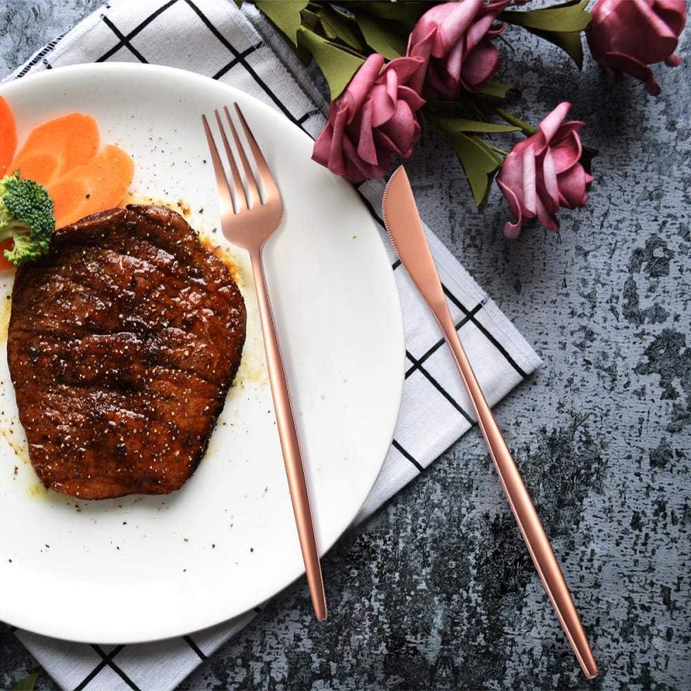 カトラリーセット HCHW 24ピースステンレス鋼ナイフフォークスプーンゴールド食器セット食品グレード高級食器ホワイトゴールド