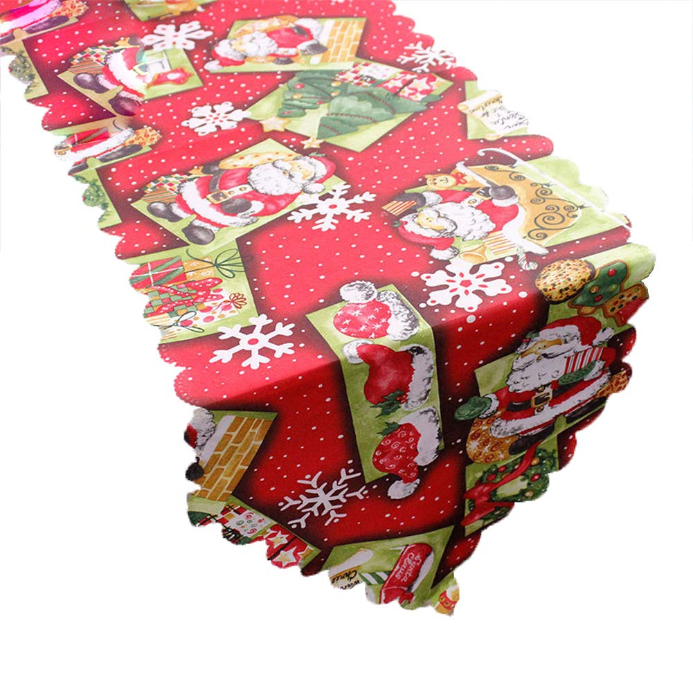 Leisial Nappe Rectangulaire pour Noël Tissu Motif Père Noël 180 * 36CM