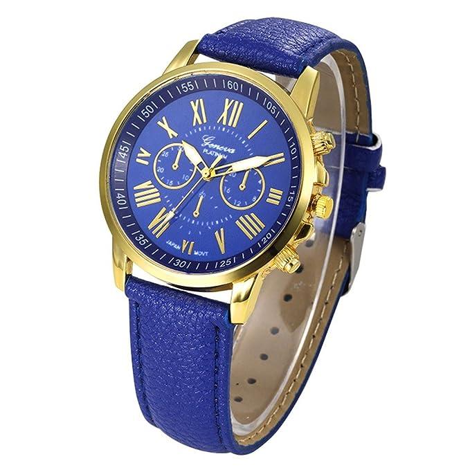 Amazon.com: Womens Watch,Elegant Geneva Roman Numerals Wristwatch Analog Quartz Clock Axchongery (Blue 2): Cell Phones & Accessories