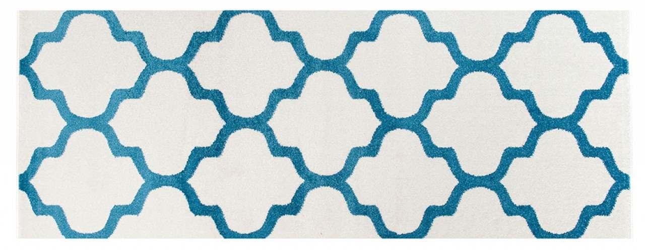 WE LOVE RUGS CARPETO Runner Rug - Blue White - Hall Stairs Hallway - Moroccan Trellis Trendy Design - Modern Pattern CASABLANCA 70 x 100 cm (2ft4 x 3ft3)