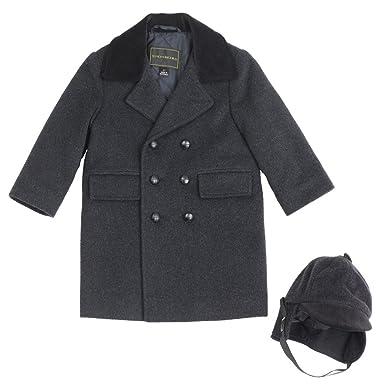 Amazon.com: Infant Boys Wool Blend Long Peacoat W/ Hat 18 Months ...