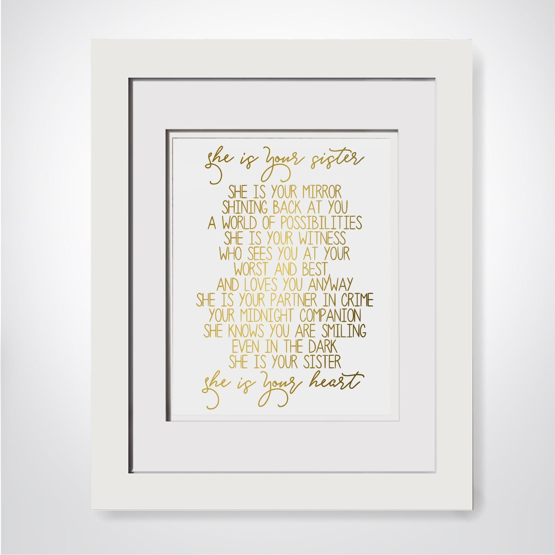 She Is Your Sister She Is Your Mirror, Sisters Quote Print, Sister Poem, Soul Sister Gift, Big Sister Gift, Sentimental Gift For Sister