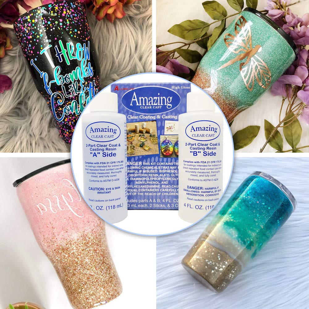 Epoxy Glitter Tumblers Kit, Includes Amazing Clear Cast Epoxy for Tumblers, Silicone Epoxy Resin Brushes, Glitter, Mod Podge by GRAS Art Bundles (Image #6)