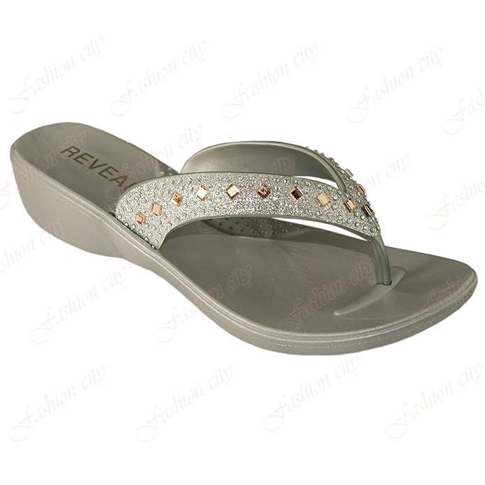 New Ladies Flip Flop Wedge Low Heel Summer Toe Post Beach Sandals Flat  Shoes 3-8: Amazon.co.uk: Shoes & Bags