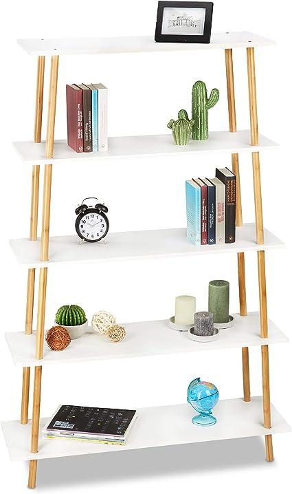 Relaxdays Estantería para Libros, Cinco estantes, Almacenaje de Libros, CDs y DVDs, Bambú, MDF, De pie, Marrón y Blanco, 149,5 x 100 x 30 cm