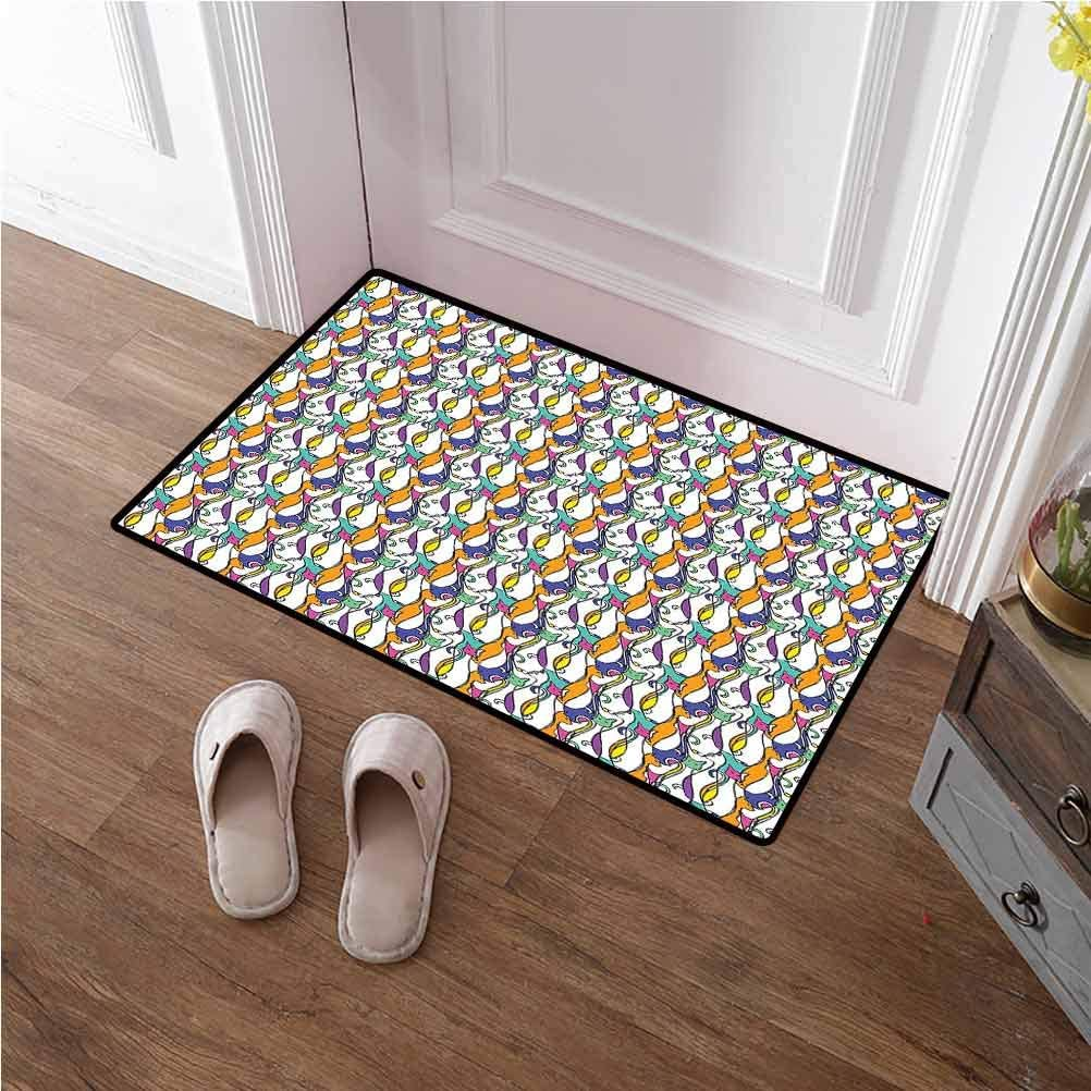 Large Door Mat Geometric Entrance Floor Mat Front Doormat Cat Design with Various Stances Colorful Abstract Pet Pattern Animal Fun Artwork Carpets for Home, Nursery, Bed and Living Room 24x36 inches