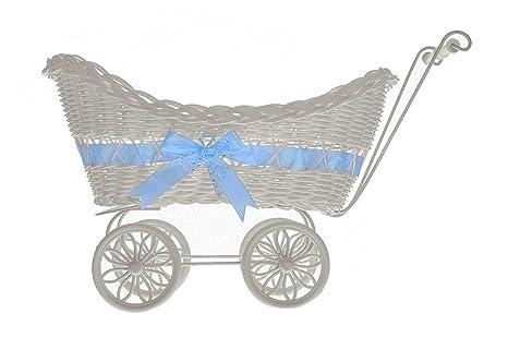 Cesta de mimbre de LIVIVO ® con diseño de carrito de bebé, con manillar, ruedas y un colorido lazo de satén, perfecto como regalo