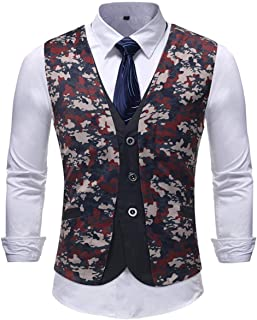 Mieuid Uomo Abito da Stampato Floreale Abito da Abito da Chic Blazer Vest Tuxedo da None