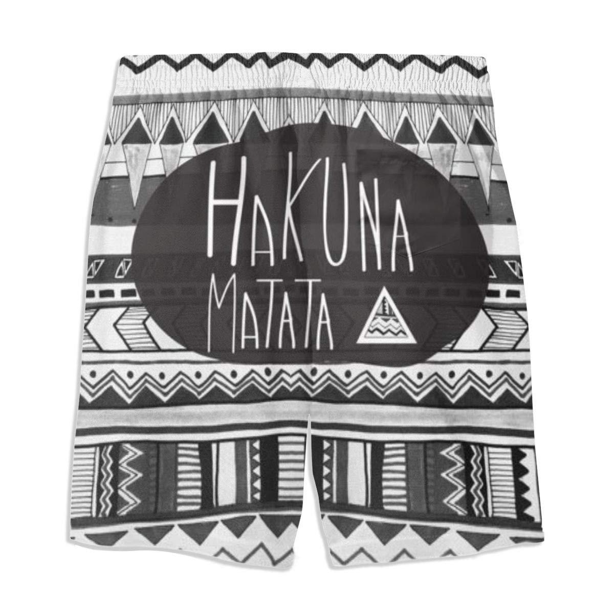 Meiya-Design Pantaloncini da Spiaggia con Tasca Costume da Bagno da Uomo Hakuna Matata