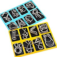 Mumoo Bear 16 Pieces IQ Test Mind Game Toys IQ Toys Brain Teaser Metal Wire Puzzles Magic Trick Toy Metal IQ Puzzle for…