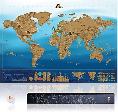 Amazy Mapa Mundi Rascar XXL (Azul | 82 x 59 cm) – Mapa mundi pared grande –aprende países y cultura – Mapa del mundo ideal para el hogar.: Amazon.es: Hogar