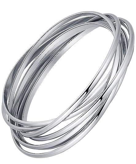 dal costo ragionevole scarpe da corsa prezzo minimo Acciaio inossidabile sette cerchi che si intersecano bracciale braccialetto  da donna - G6027my1