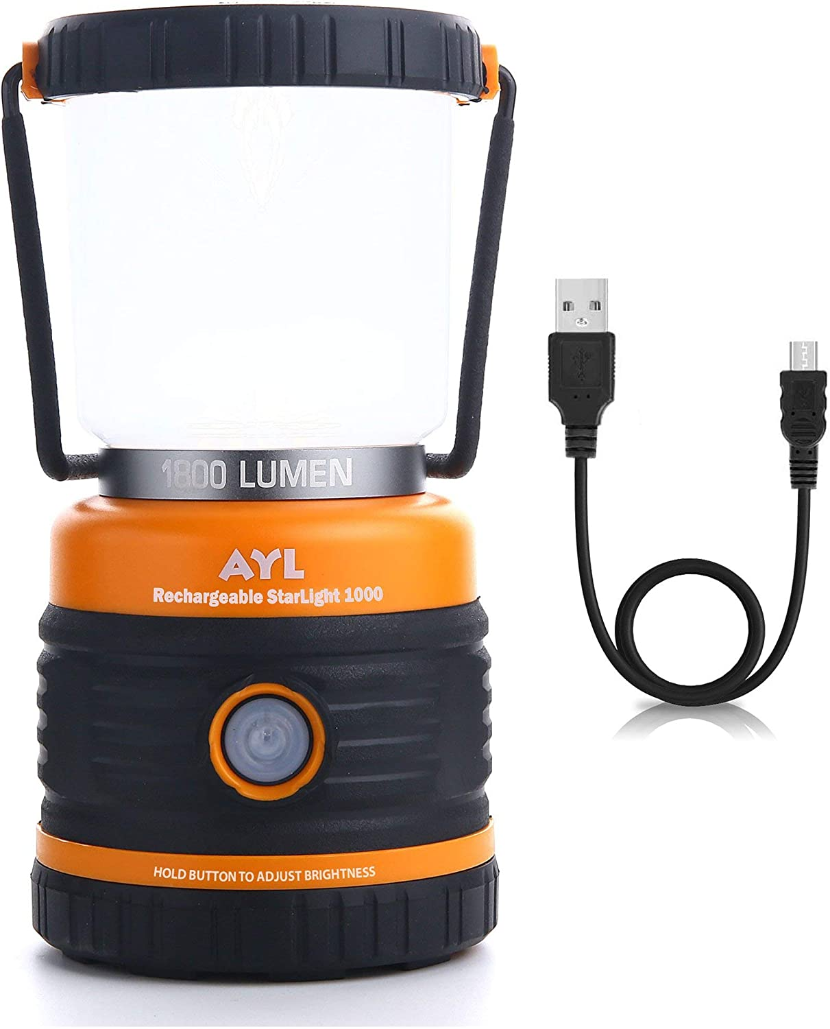 LED Camping Lantern Rechargeable, 1800LM, 4 Light Modes, 4400mAh Power Bank, IP44 Waterproof, Perfect Lantern Flashlight for Hurricane, Emergency, Power Outages, Home and More, USB Cable Included
