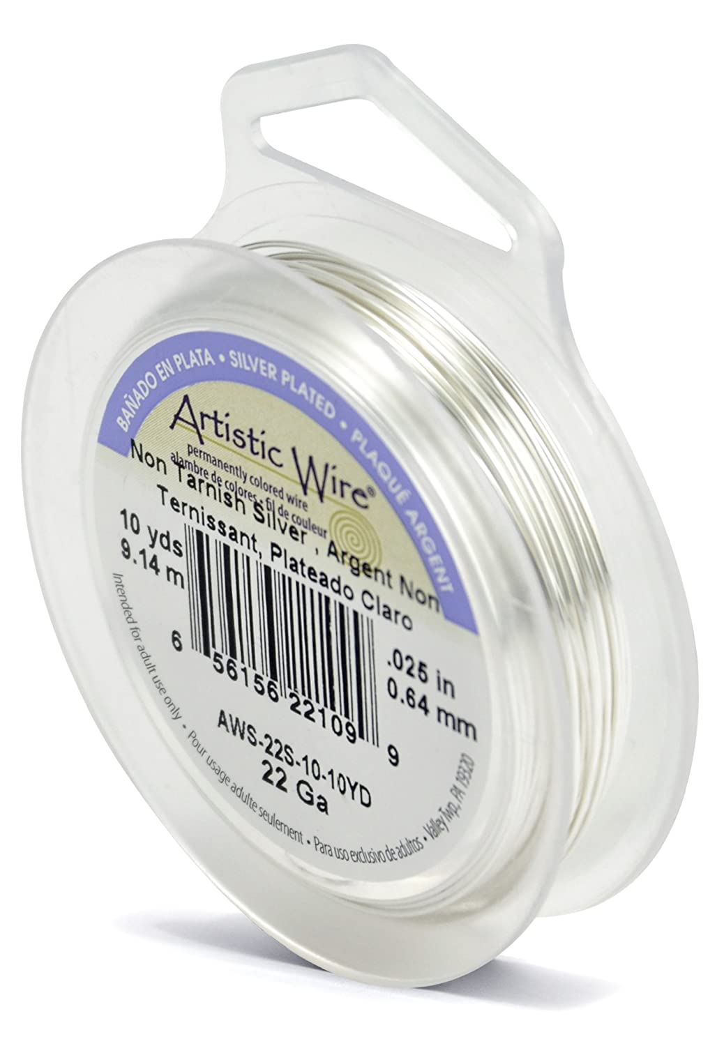 Artistic Wire 22-Gauge Tarnish Resistant Silver Wire, 10-Yard AWS-22S-10-10YD