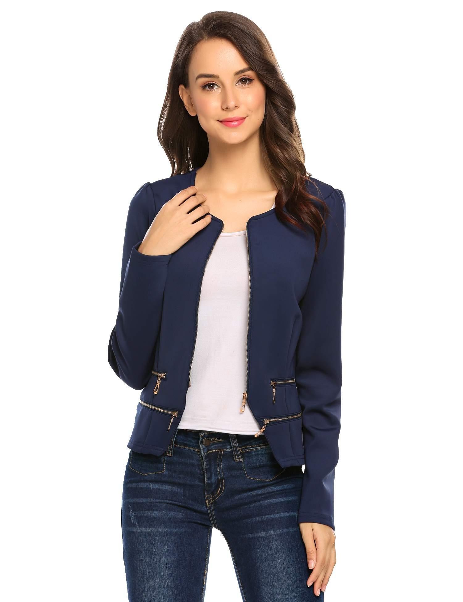 Zeagoo Women's Casual Zipper Cardigan Blazer O Neck Slim Fitted Office Jacket (L, Navy Blue) by Zeagoo (Image #1)